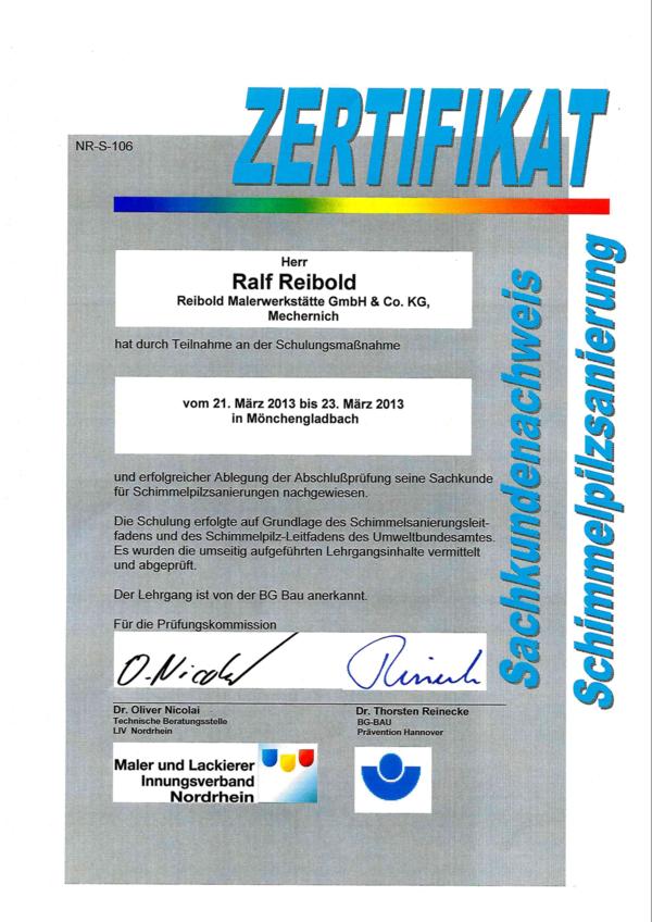 Sachkundenachweis Ralf Reibold