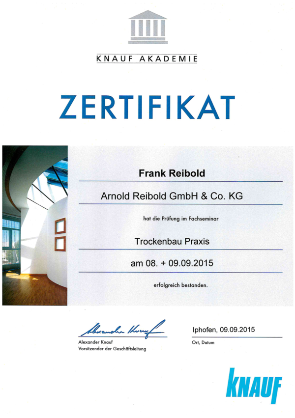 Knauf Zertifikat II Frank Reibold