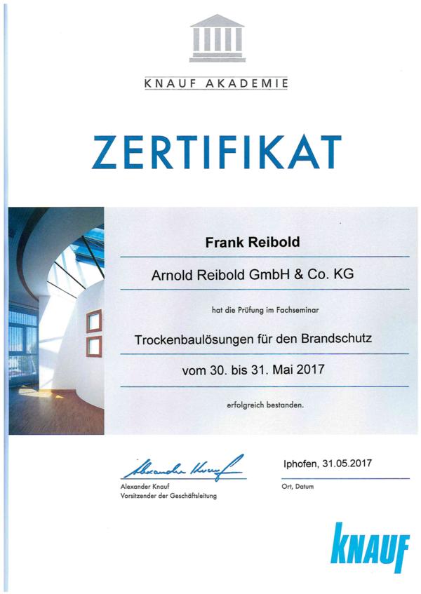 Knauf Zertifikat Frank Reibold