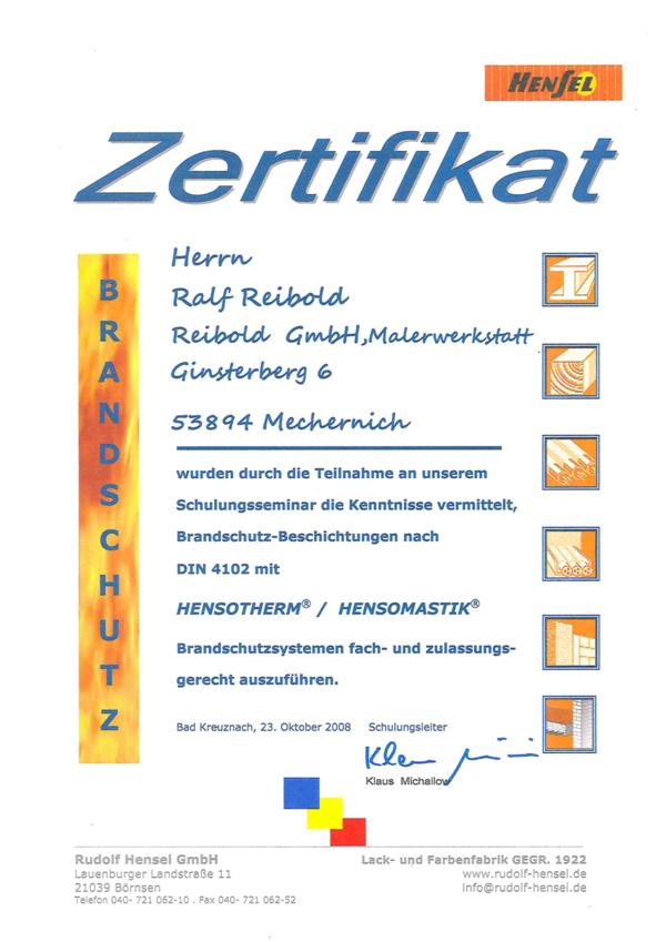 Brandschutzzertifikat Ralf Reibold