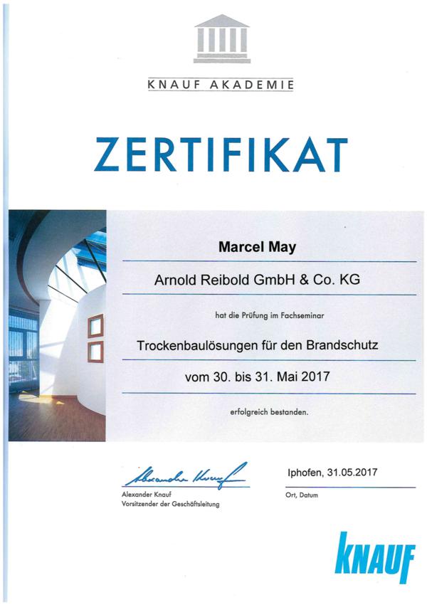 Knauf Zertifikat Marcel May